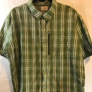 LL Bean Mens Button Front Short Sleeve Shirt XXL